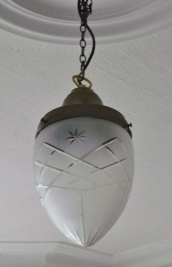 Conical ceiling light with engraved decoration