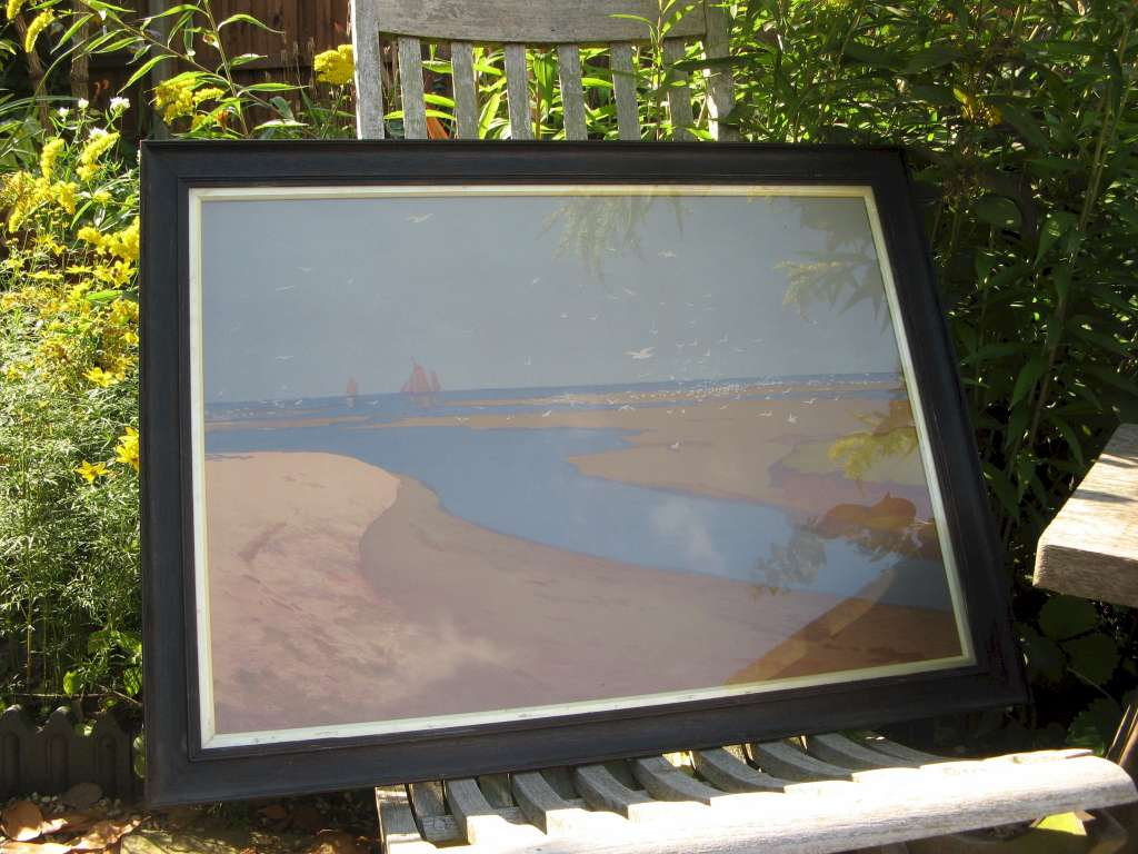 Arts and Crafts oak framed print by Karl Otto Matthaei 1863-1931