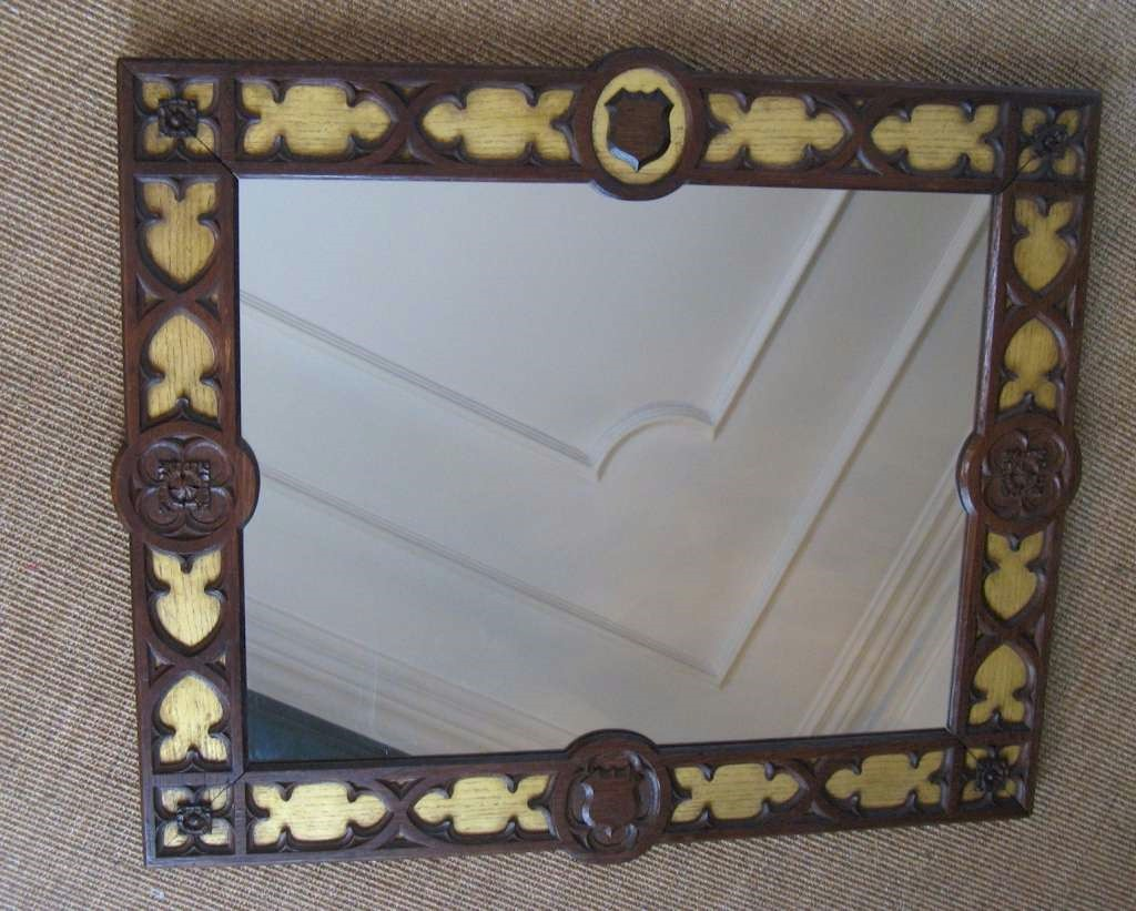 Gothic Revival frame gilt and oak with carved shields
