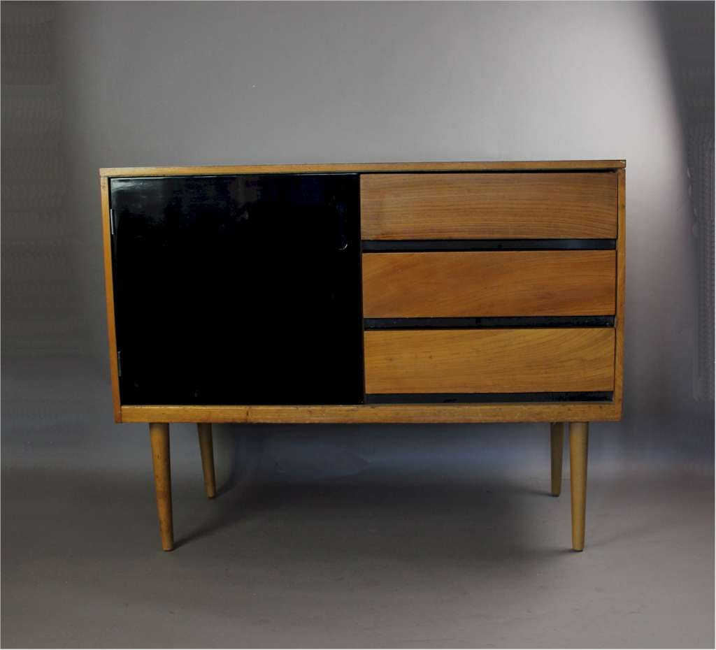 Mid-Century Formica topped sideboard with three teak drawers