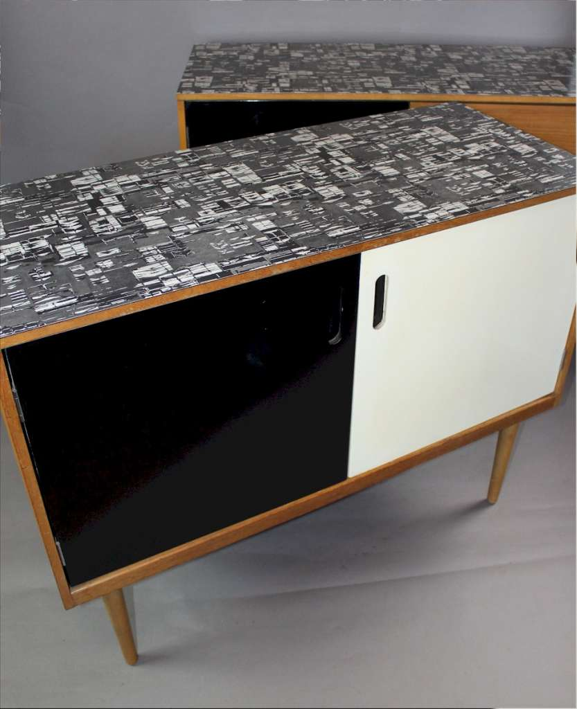 1950's mid-century Formica topped sideboard with black and white doors