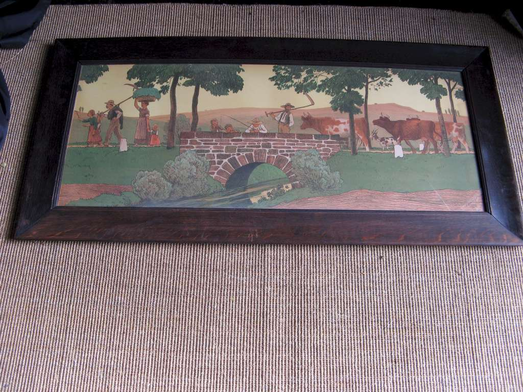 Arts and Crafts large oak framed nursery lithograph of country folk by R.V.Volkmann