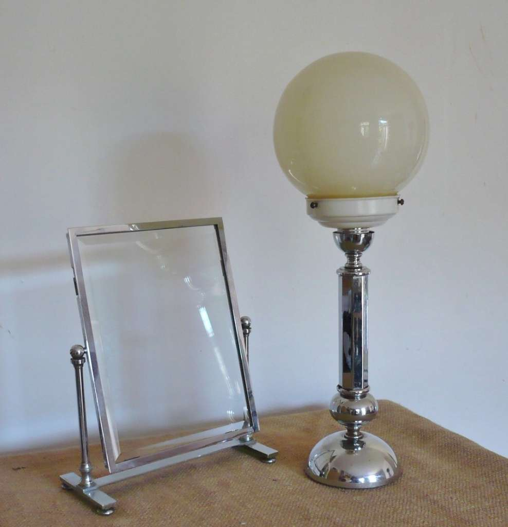 French art deco table lamp in chrome