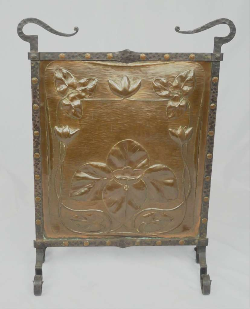 Arts and crafts copper fireguard with waterlilly