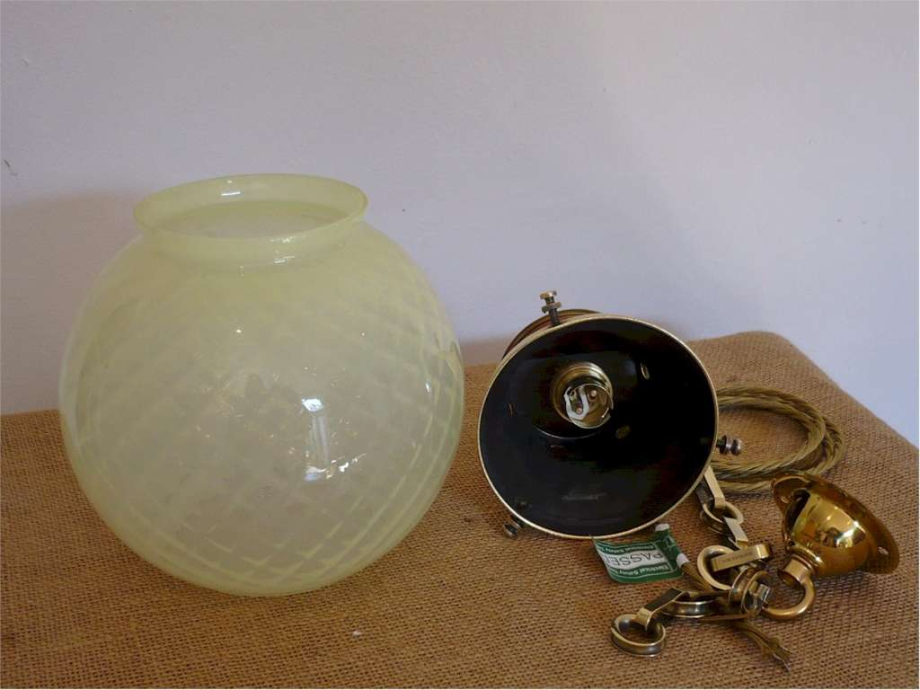 Vaseline glass hall light with brass fittings