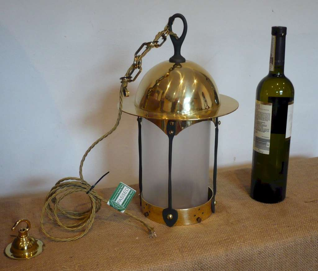 Classic arts and crafts dome top lantern in brass