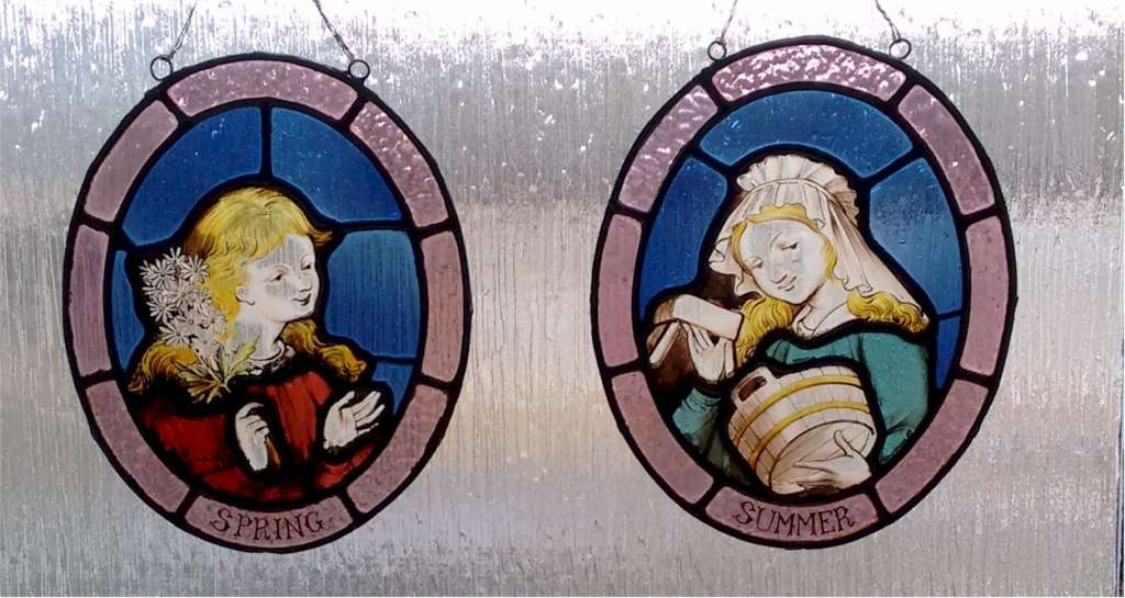 Pair of victorian painted glass panels , Spring & Summer