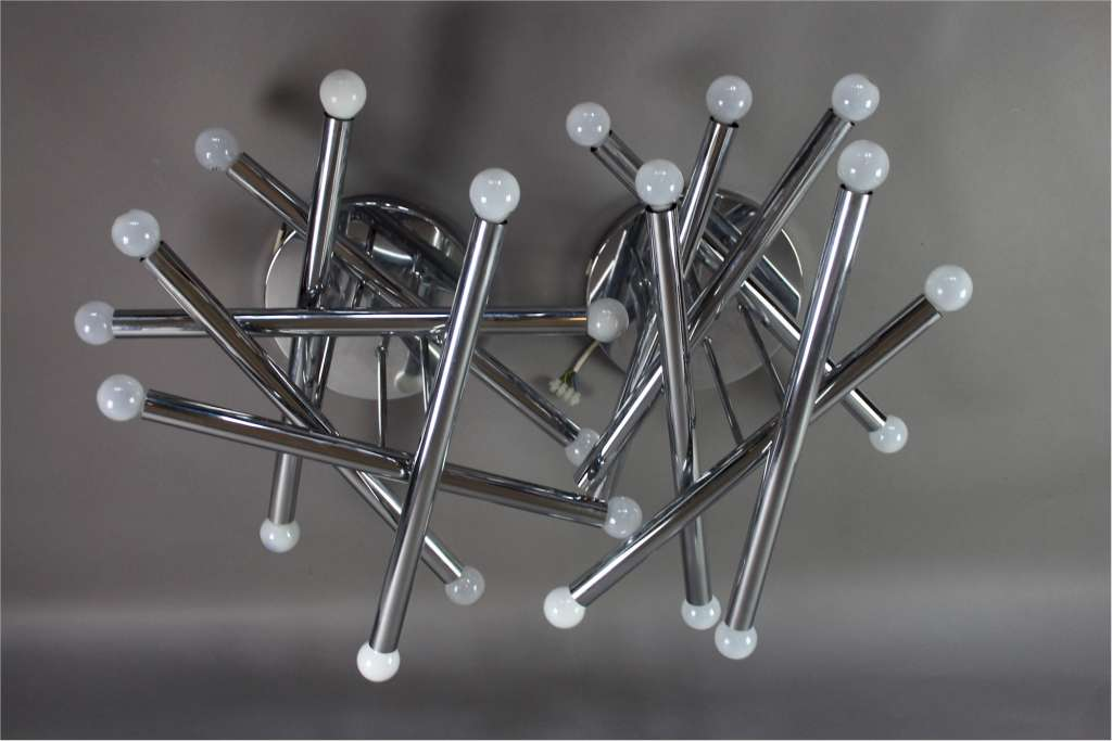 Italian 1970's designer ceiling lights in chrome by Gaetano Sciolari
