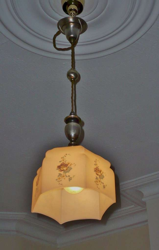 Silver plated light pendant , painted shade