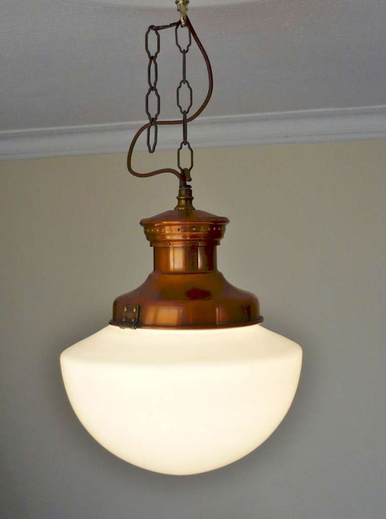 Set of 3 1920's opaline and copper hanging lights