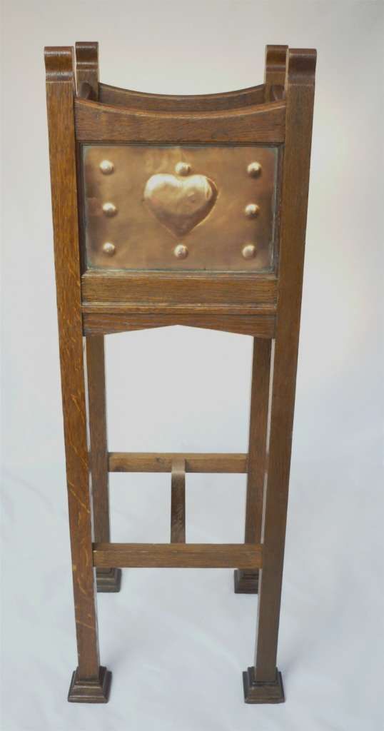 Shapland & Petter plantstand in oak with copper panels