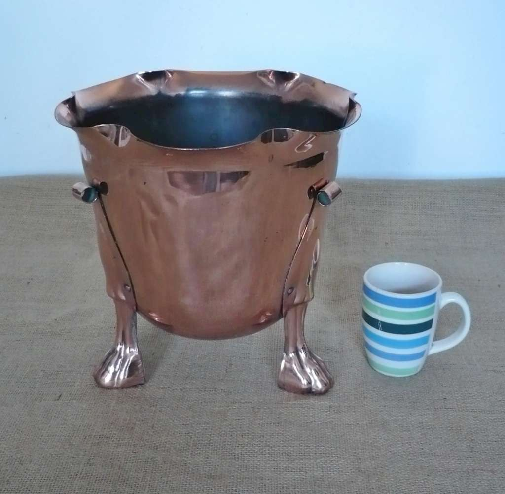 Large arts and crafts planter in copper