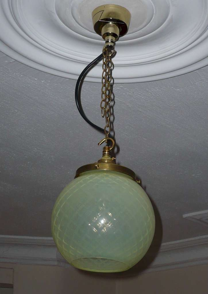 Circular vaseline glass ceiling light