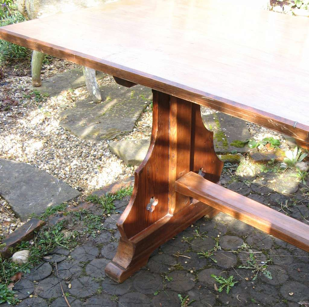Gothic Revival pitch pine refectory dining table