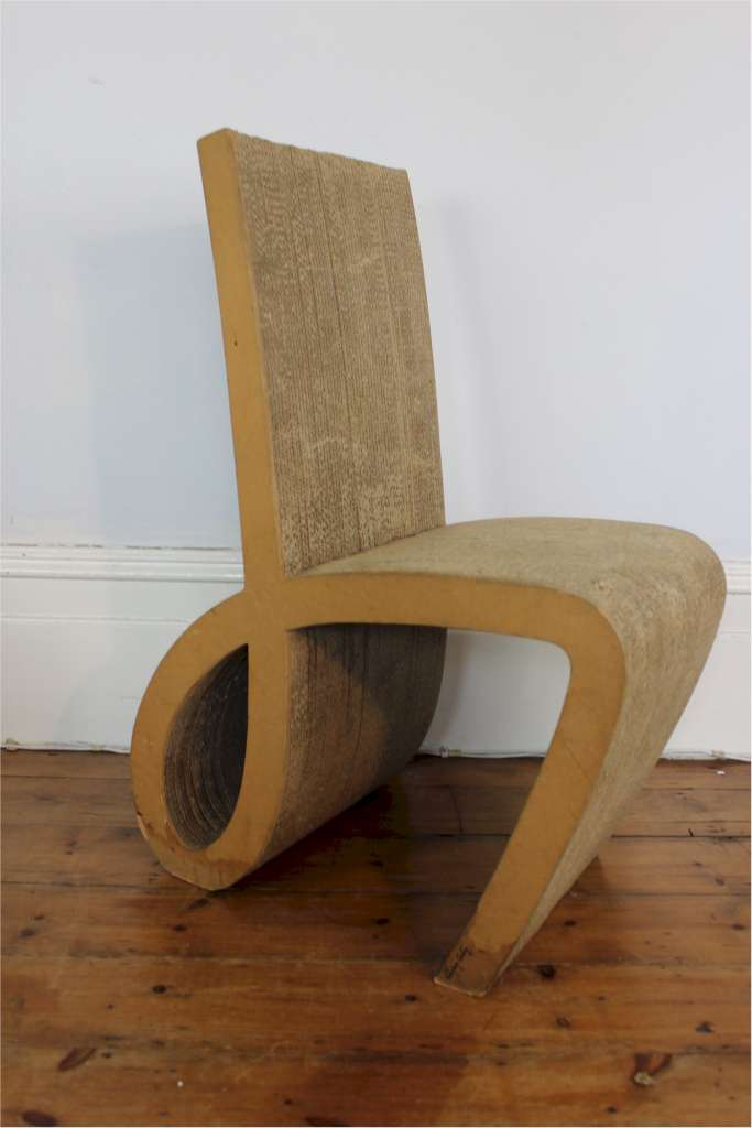 Interesting chair made of cardboard . Signed Interieur carton