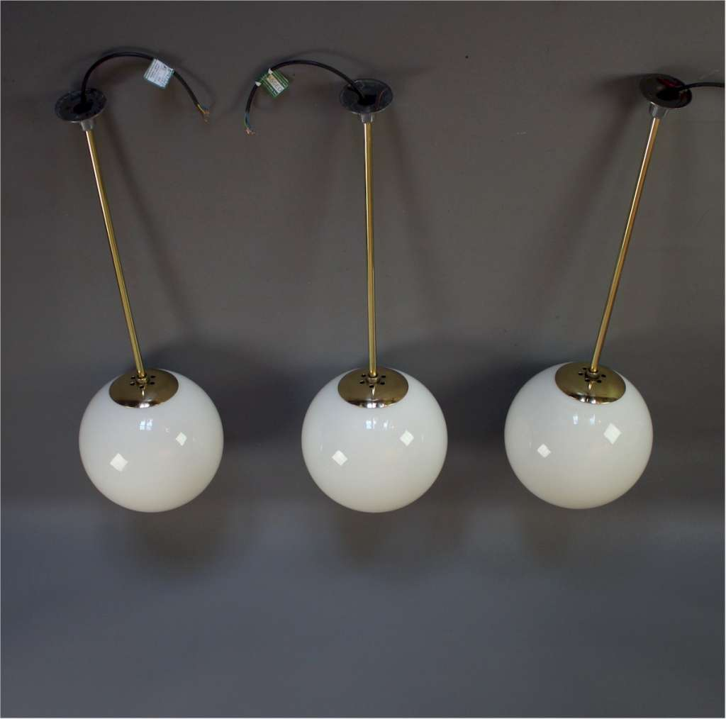 1930's set of 3 opaline ball ceiling lights