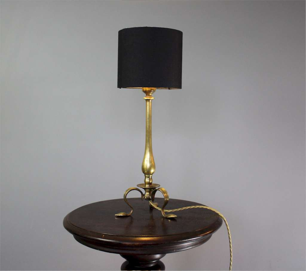 Edwardian brass table lamp in the arts and crafts taste