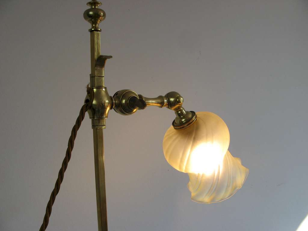 Arts and Crafts adjustable table lamp in brass with period shade