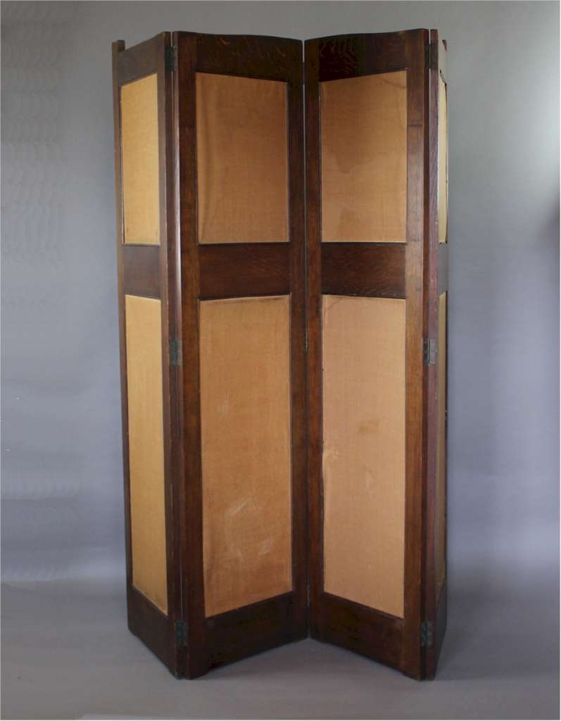 Liberty & Co arts and crafts four fold screen in oak c1900