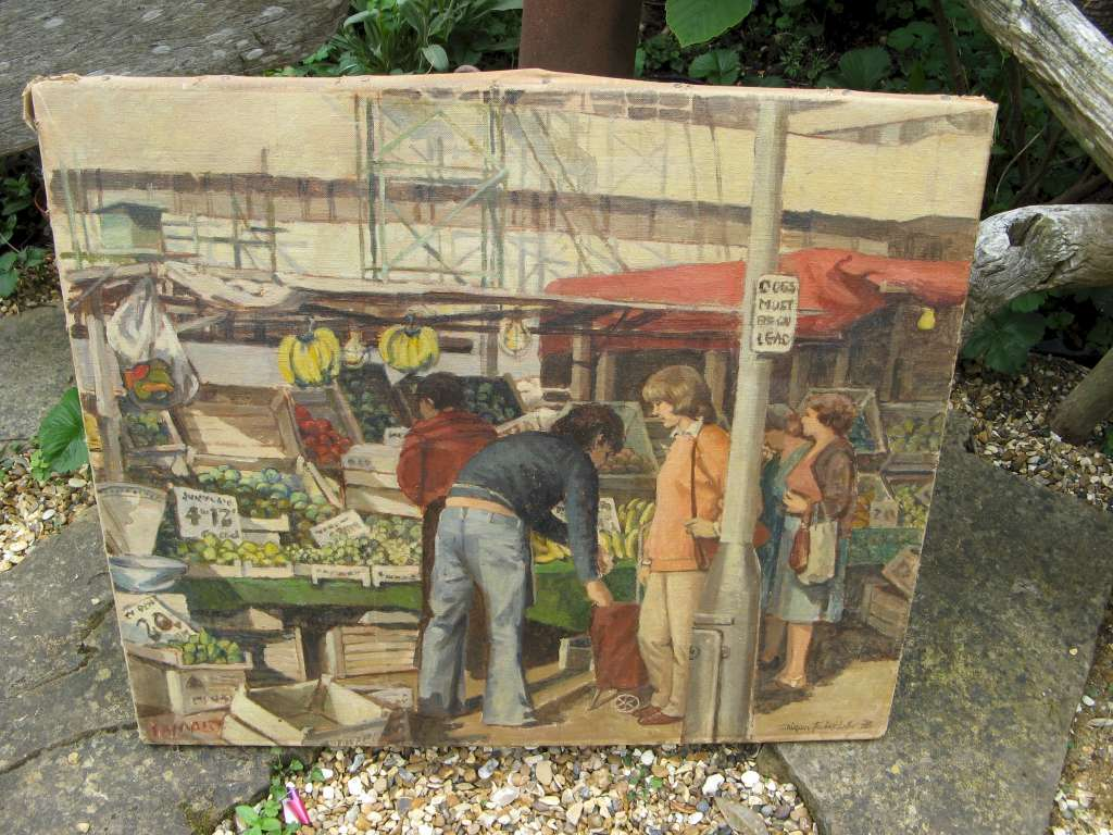 Oil on canvas market scene in London during the 1970's by Shireen Faircloth `78
