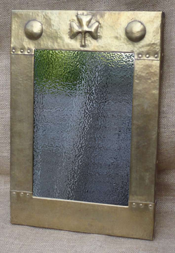 Arts and crafts mirror in heavy gauge brass