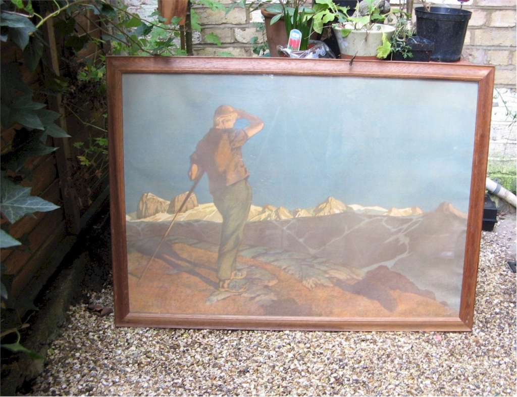 1930's oak framed print of an Alpine scene with a rambler . German or Austrian