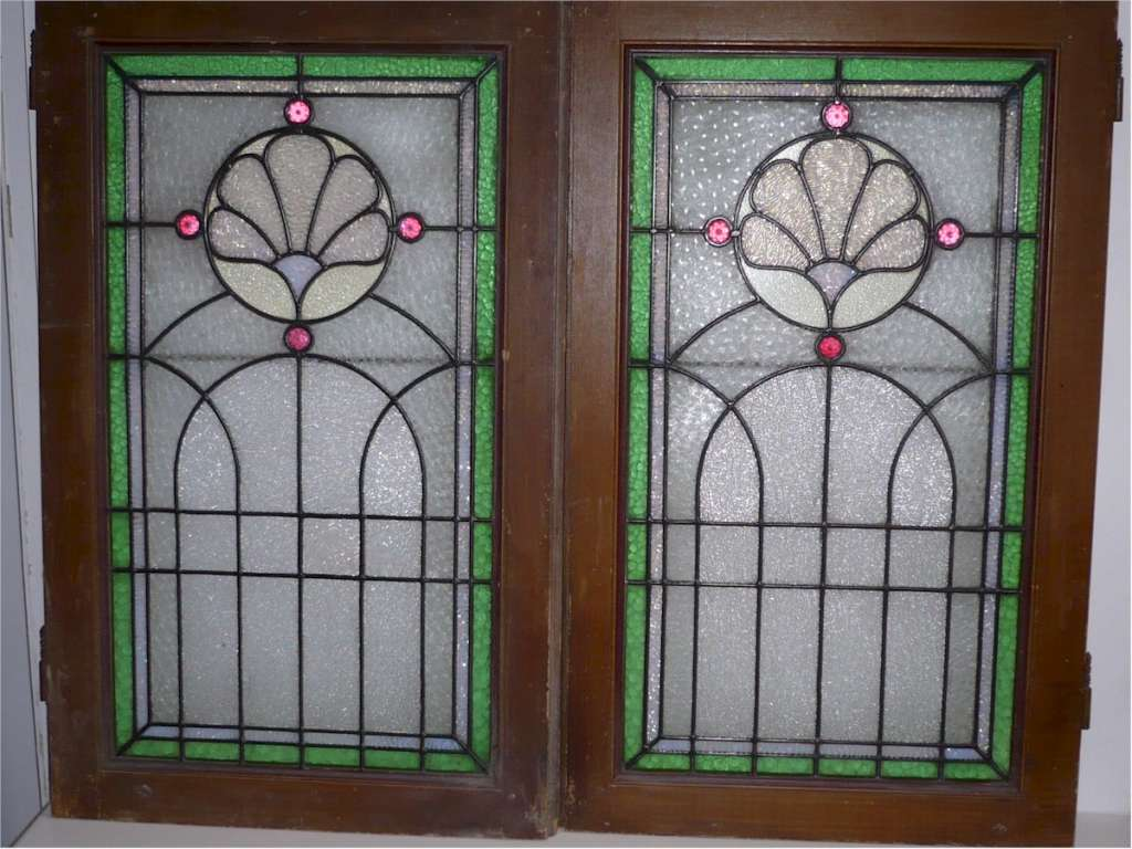 Striking pair of stained glass windows