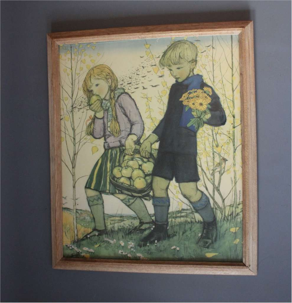 1950's nursery print of boy and girl collecting fruit