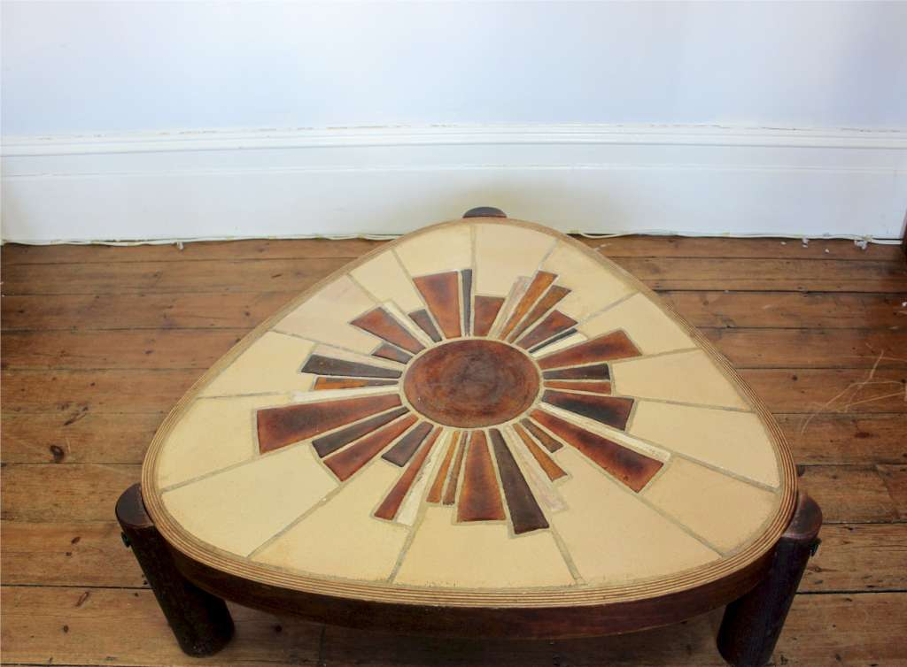 Vallauris 1970's tiled top coffee table