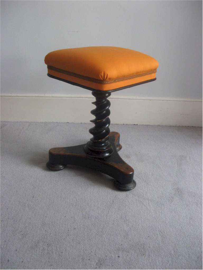 Decorative Victorian stool on ebonised turned stem
