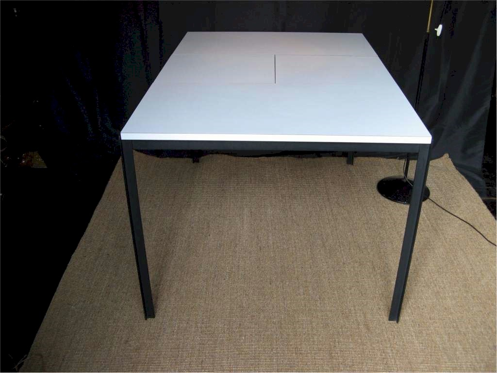 Florence Knoll extending dining table white formica on metal framed legs