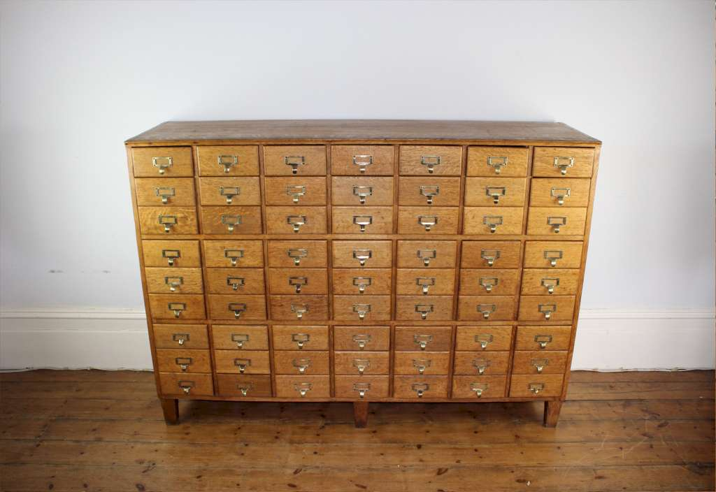 Vintage shop fitting / filing cabinet in solid oak with 63 drawers