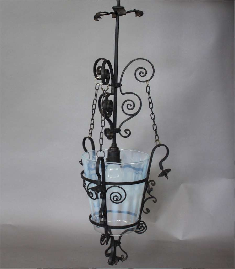 Aesthetic Movement hanging lantern in wrought iron with vaseline shade