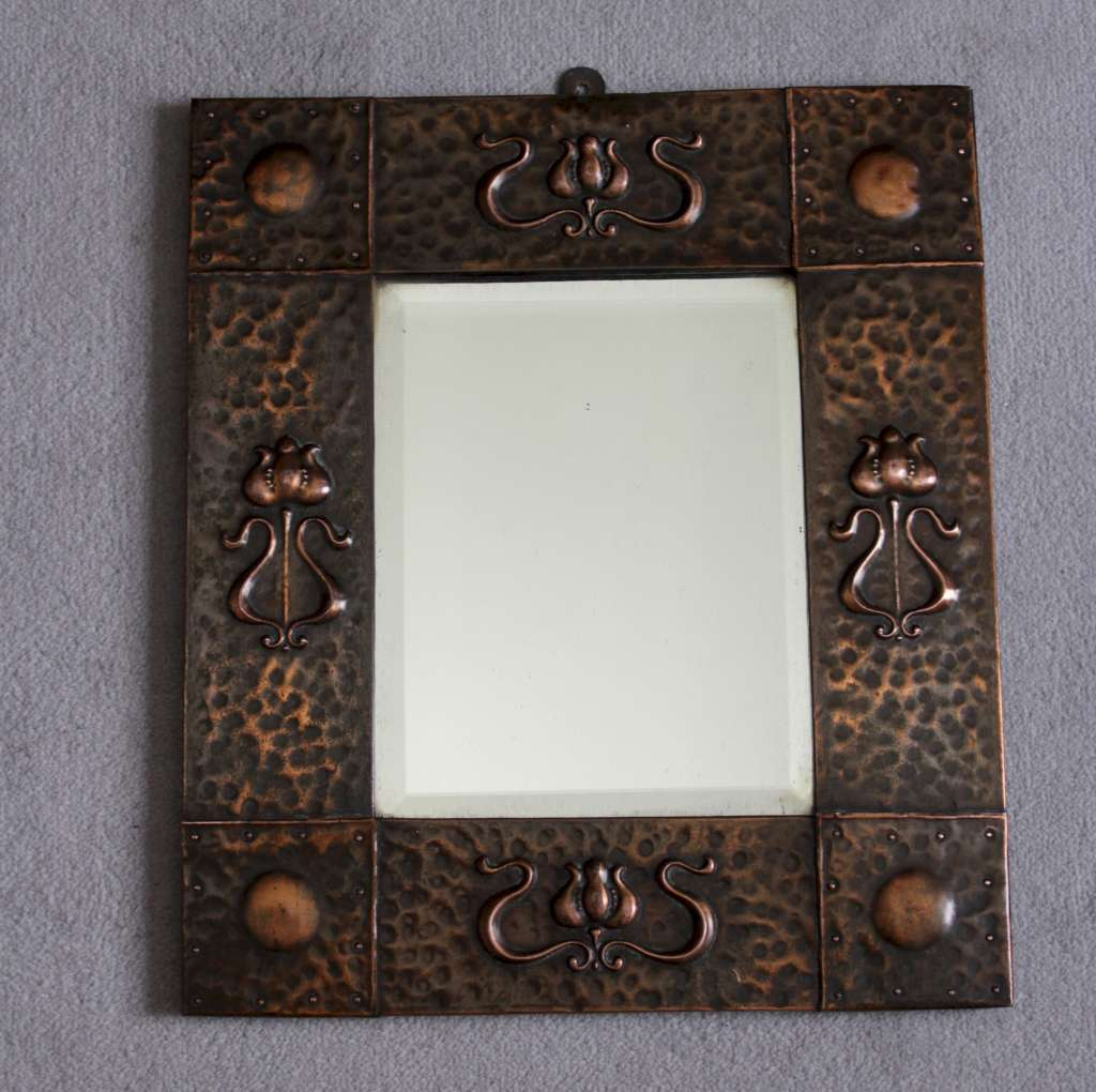Copper arts and crafts mirror