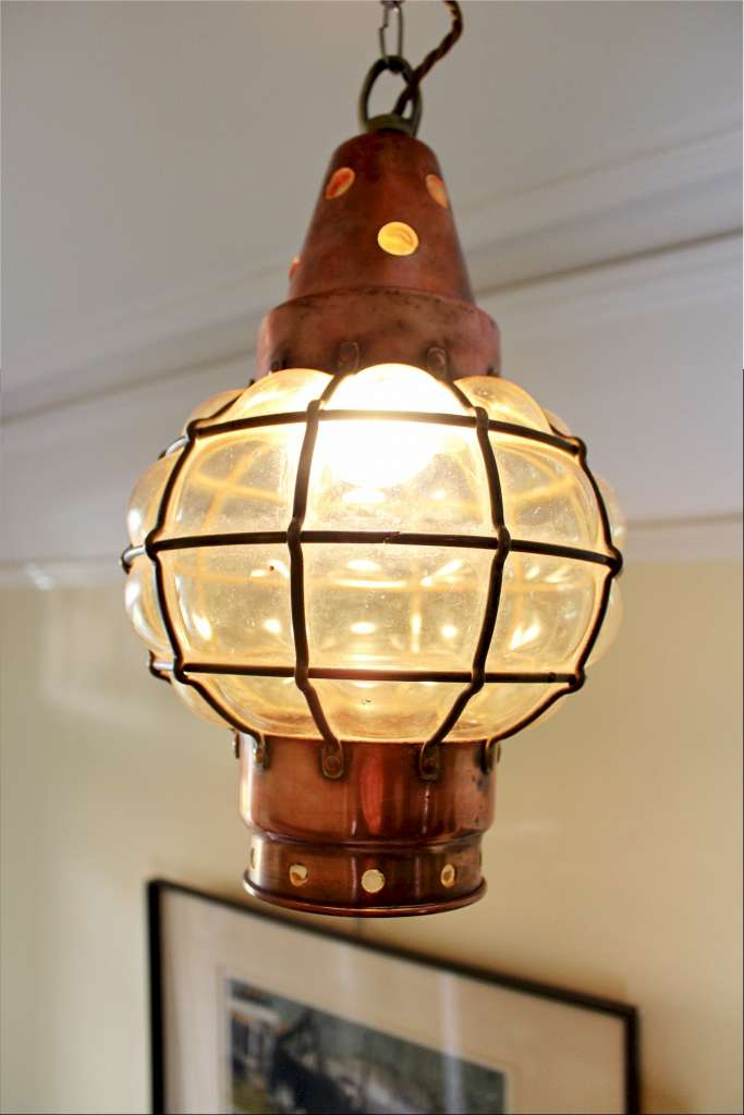Copper and blown glass arts and crafts hanging lantern