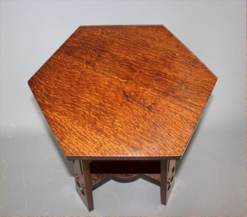 Arts and Crafts classic 3 legged heart pierced table