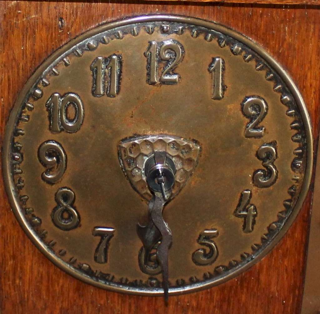 Arts and Crafts oak and copper mantel clock Liberty & Co