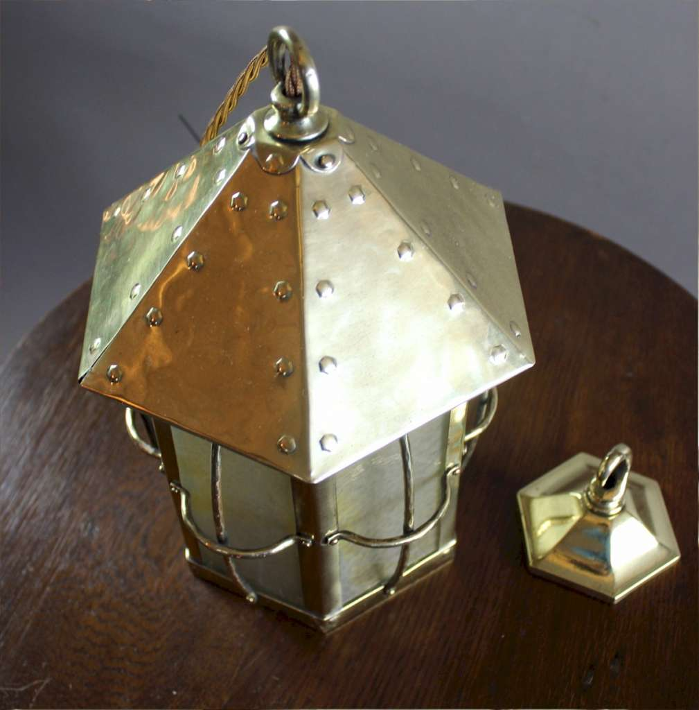 Arts and crafts brass caged hall lantern