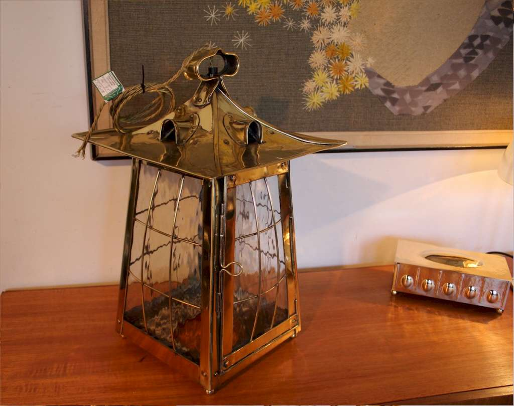 Arts and crafts large brass lantern