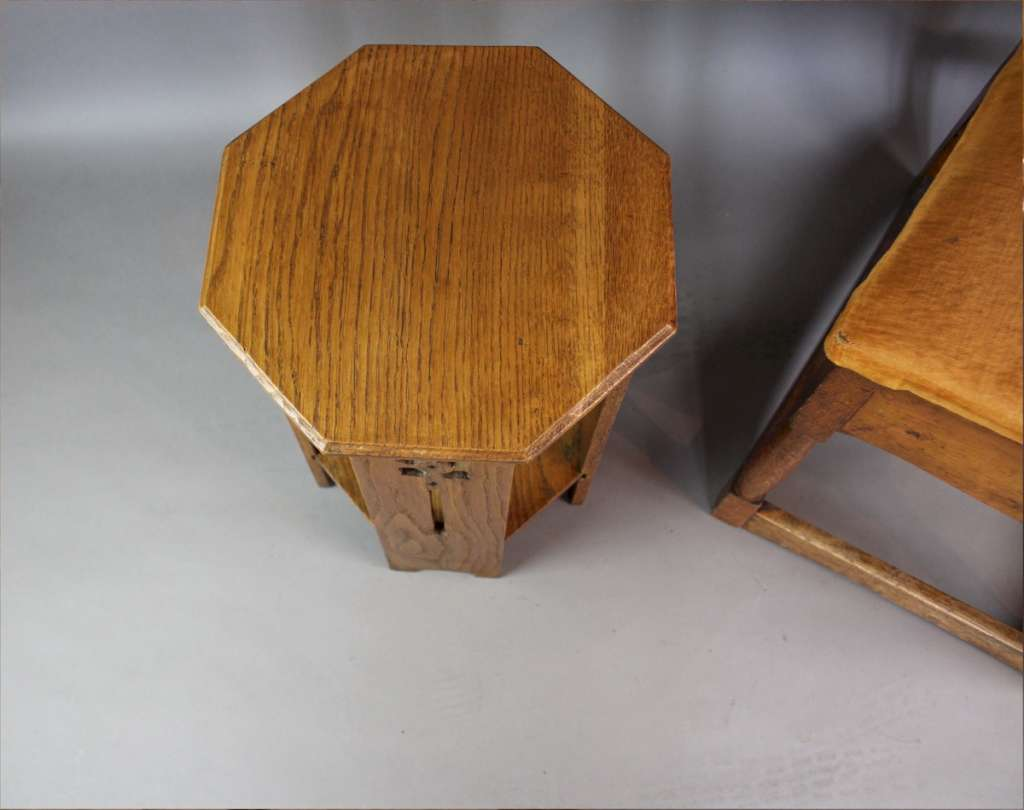Small arts and crafts lamp table c1900