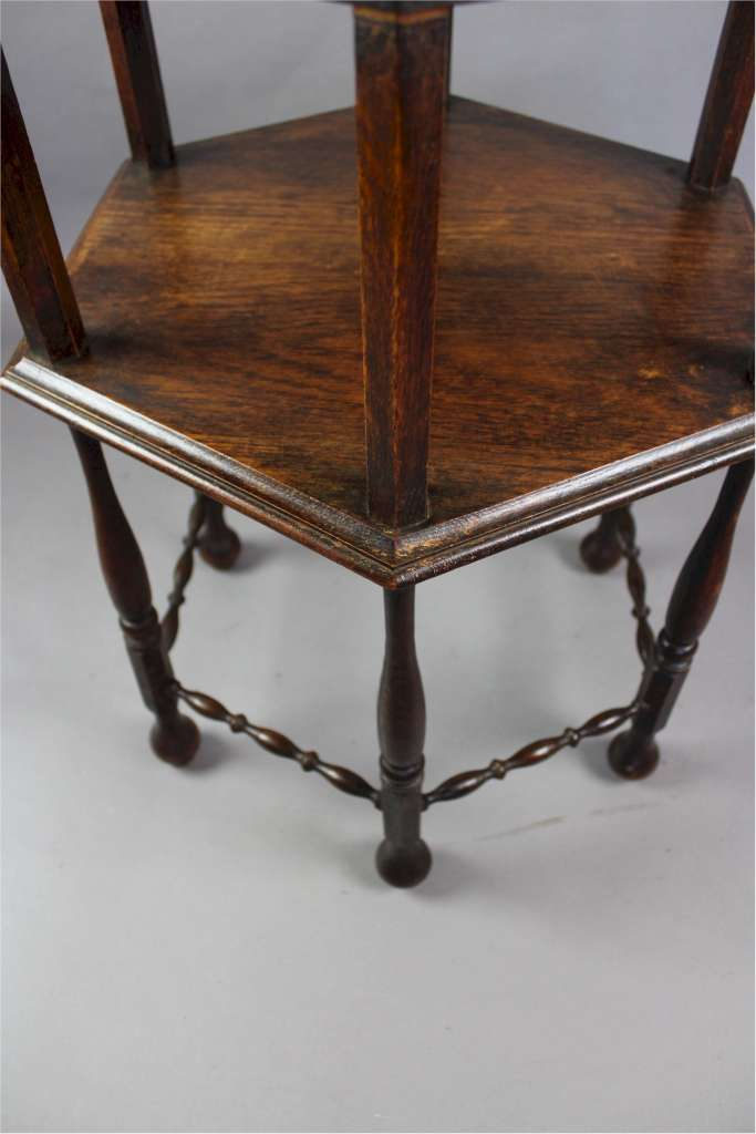 Arts and Crafts occasional table in oak with charming bobbin stretchers