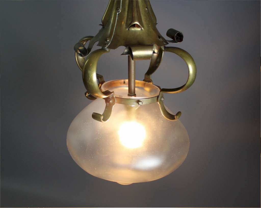 Arts and crafts brass centre light with original shade