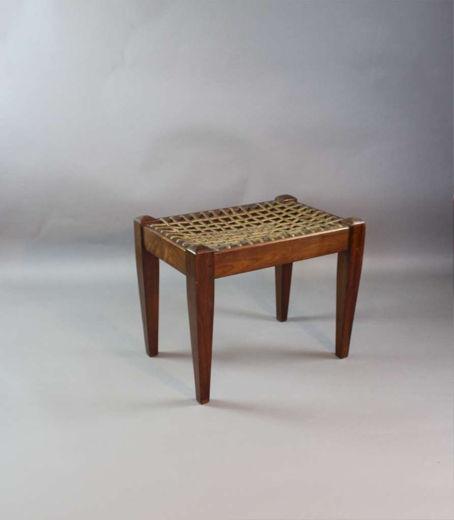 Irish Arts and Crafts mahogany stool with leather straps