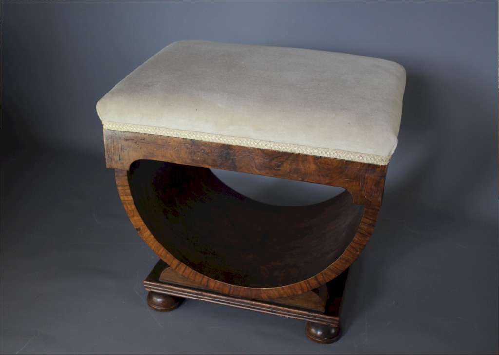 Art Deco U shaped walnut stool