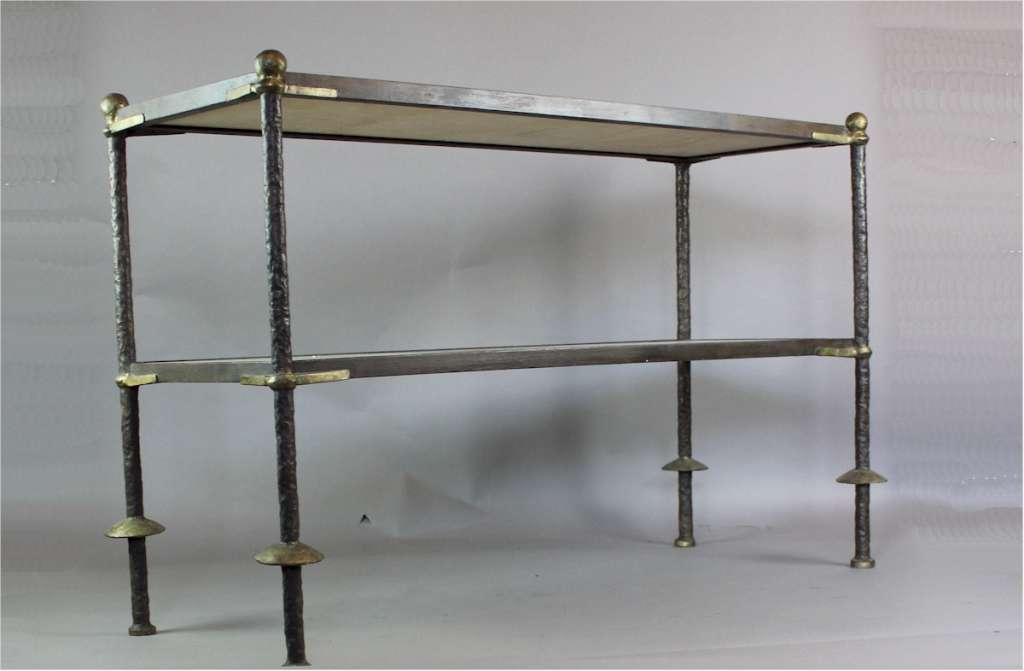 Stylish Italian 1950's wrought iron and marble two tier table