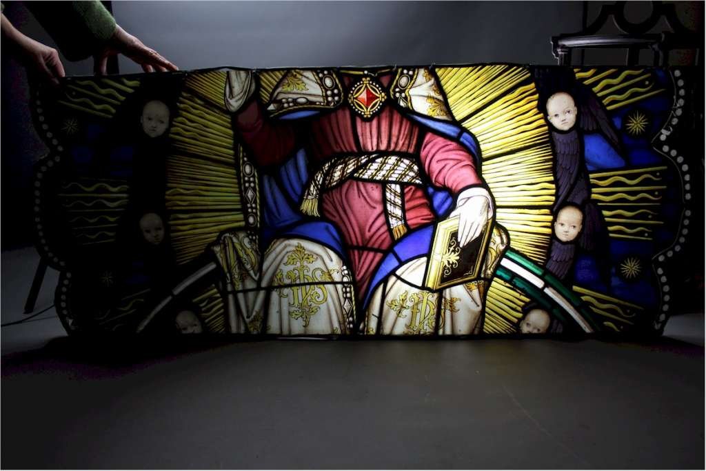 Victorian painted stained glass panels from a church
