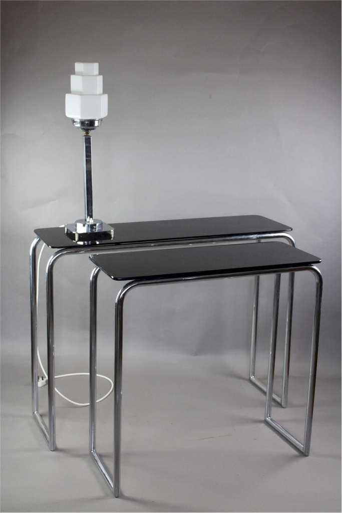 Modernist 1930's chromium plated tubular steel console table by PEL