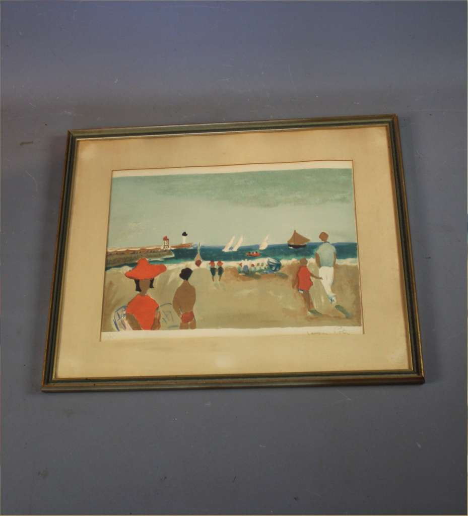 Beach scene lithograph by Jacques Potin
