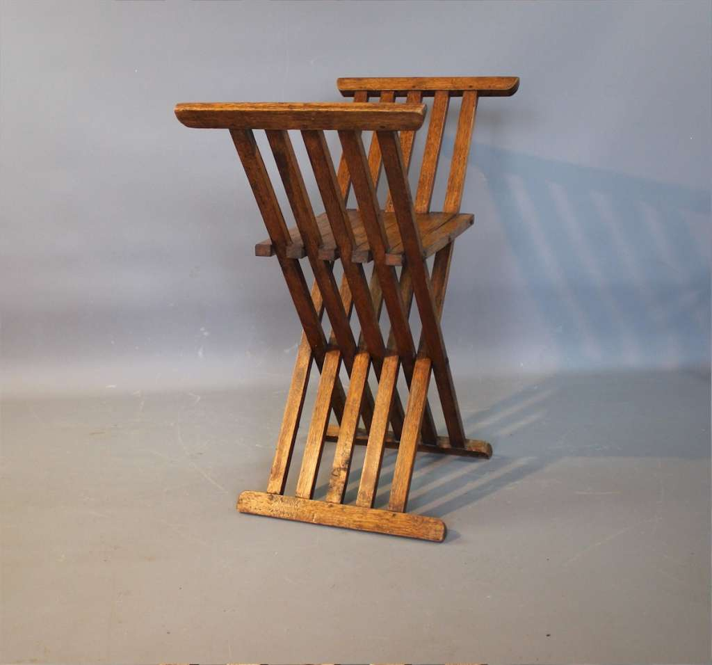 Arts and crafts folding oak X stool liberty & Co.