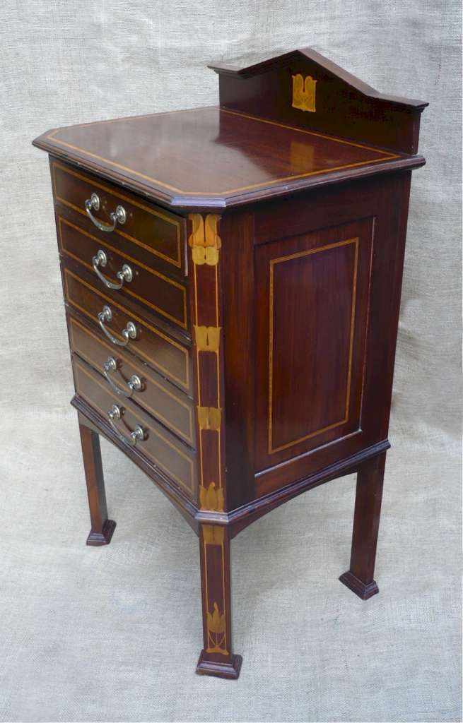 Pretty inlaid 5 drawer music cabinet